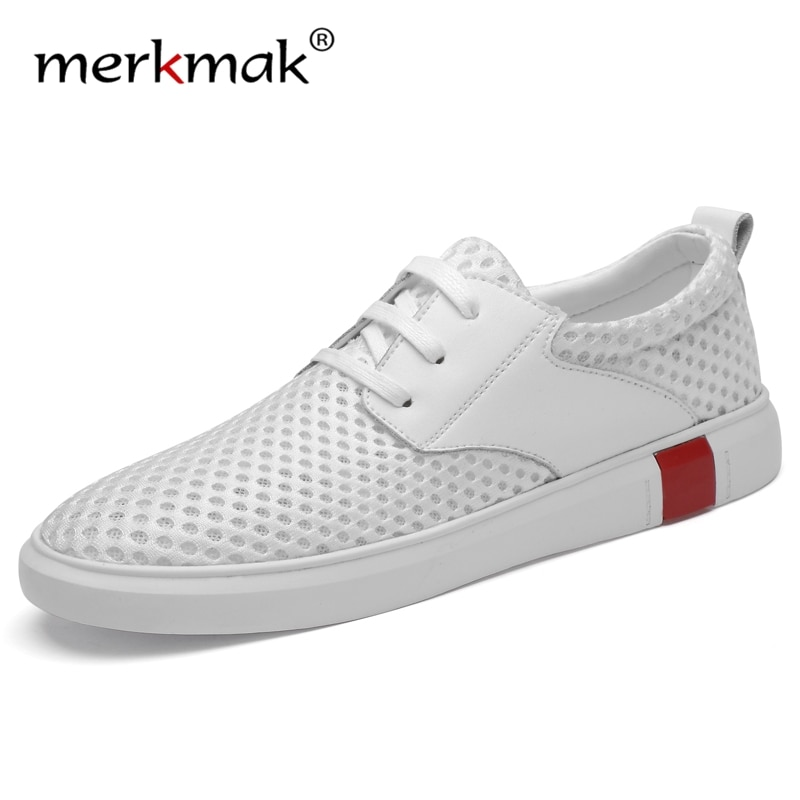 Marca Merkmak, zapatos de malla informales para hombre, zapatillas transpirables para hombre, zapatos de caminar para hombre, calzado blanco a la moda de verano, talla grande 46