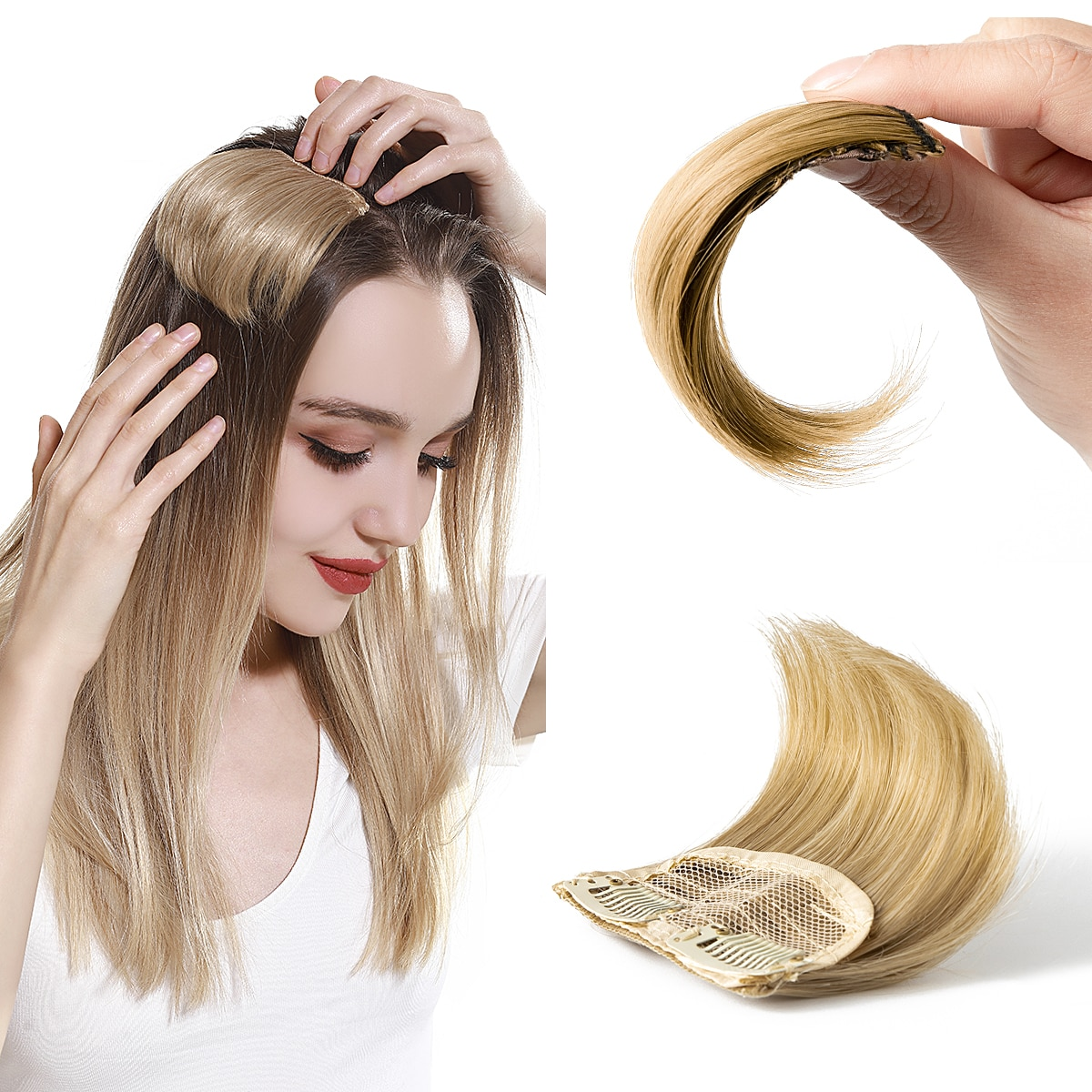 Straight Hair Pads Fashion Hair Volume Increase Synthetic Fluffy Invisible Natural Clip on Hairpieces Blonde For women 2 Pieces