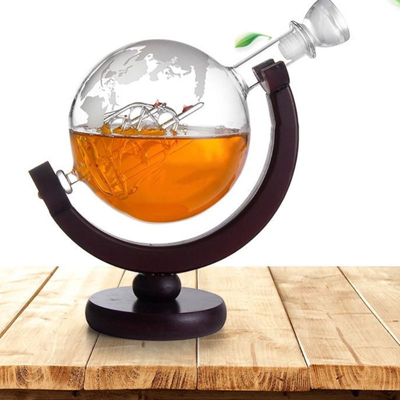 850ML Whiskey Decanter Antique Ship Whiskey Dispenser For Liquor Bourbon Vodka Wine Glass Decanter Globe with Wood Stand