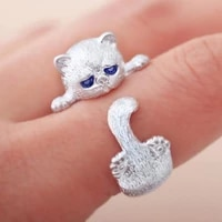 silver plated cute cat animal lady ring boutique jewelry lady open party indelible ring cocktail ring anniversary birthday gift