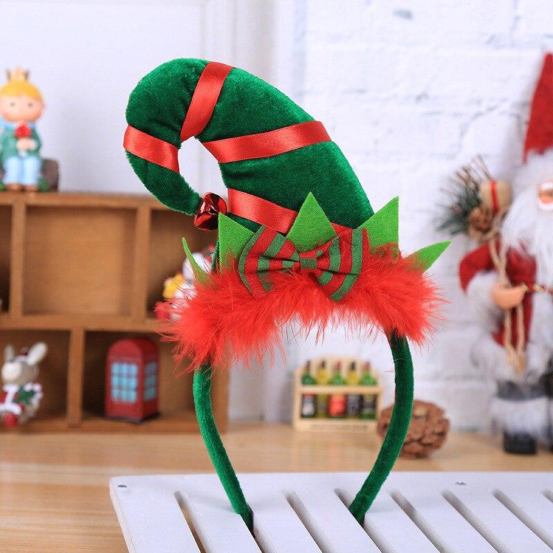 Décoration de jour de noël style créatif décoration de plumes rouges petit chapeau pointu cerceau bandeau de cheveux