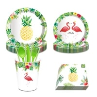 kids disposable tableware sets pineapple flamingo hawaii party decoration happy birthday dessert plates beach party favor