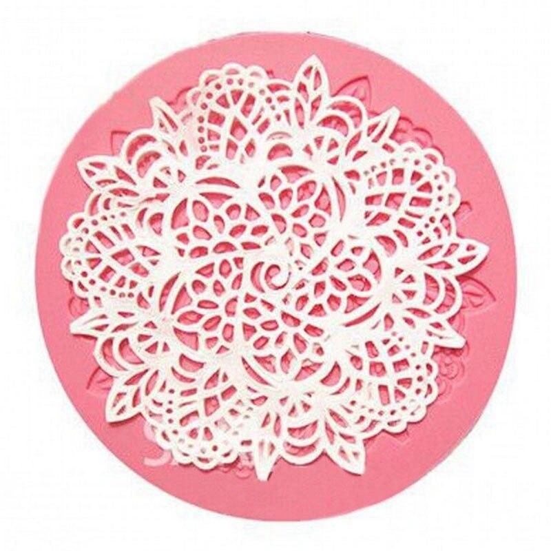 Esterilla de silicona redonda de 1 Uds. Para pastel, utensilios para decoración de tortas con Fondant, silicona de cocina hornear, moldes de encaje