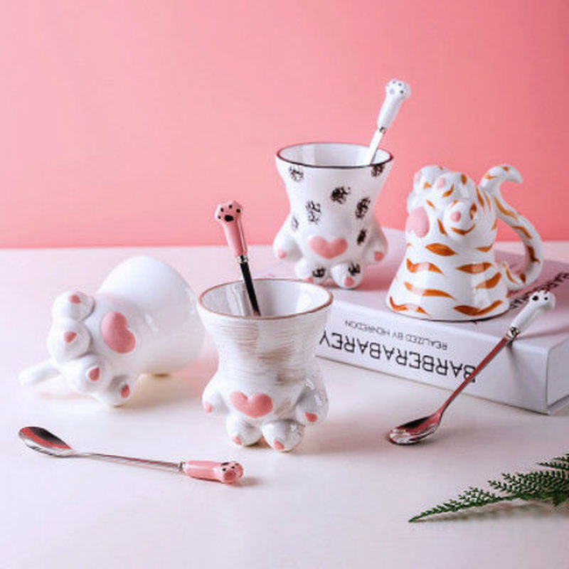 Taza navideña creativa Linda Pata de Gato Taza de cerámica Hada chica con cuchara Taza de Café de Cerámica taza de pareja de dibujos animados tazas de Navidad