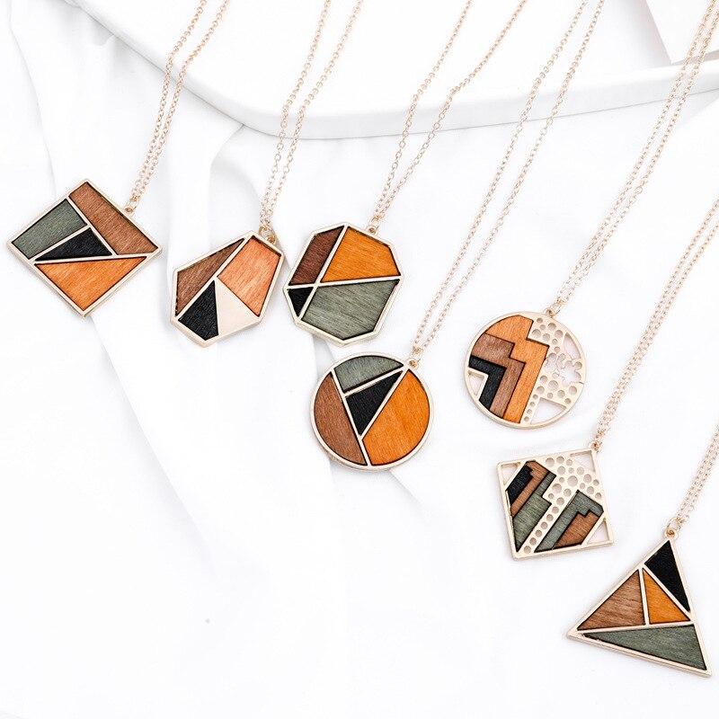 Neue frauen Pullover Kette Halsketten Geometrische Runde Quadrat Rhombus Holz Halskette Mode Charme Trendy Schmuck Geschenk