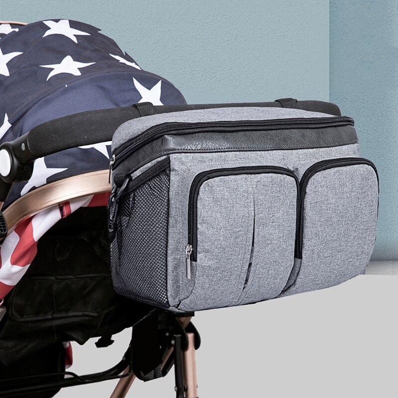 Saco de carrinho de bebê saco de fraldas da mamãe saco de fraldas carrinho de criança organizador acessórios grande capacidade