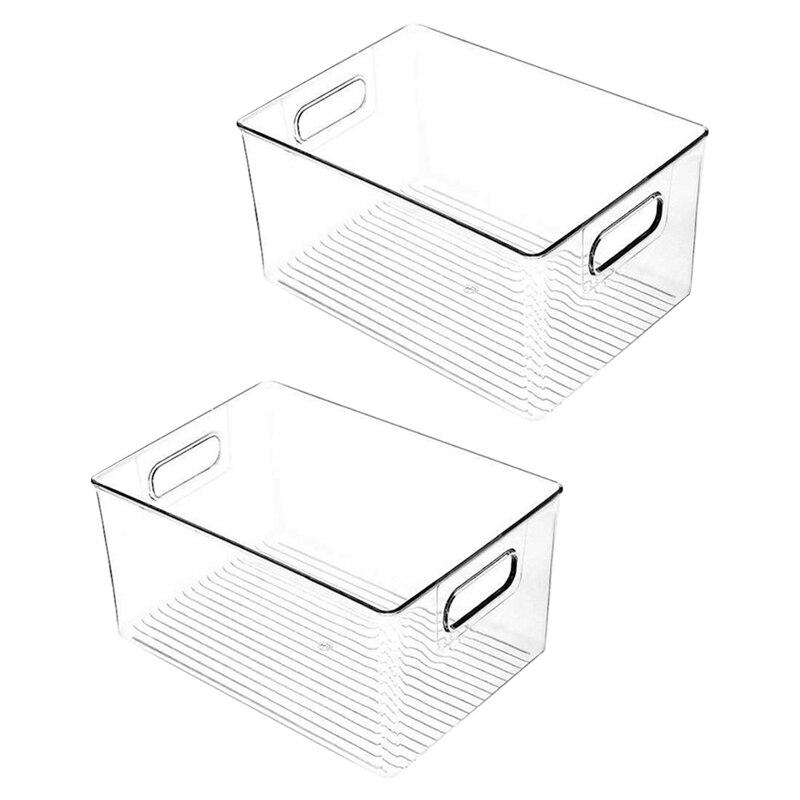 2 قطعة خزانة بلاستيكية مخزن المطبخ ، الثلاجة أو الفريزر الغذاء أو علب تخزين الكتب مع مقابض-منظم للوجبات الخفيفة