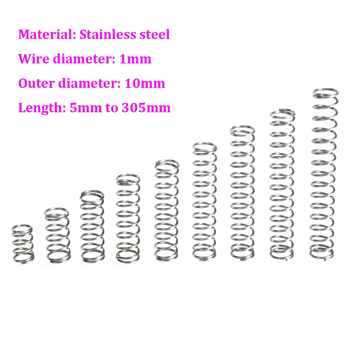 Comprimento 5mm - 305mm da mola de pressão do od 10mm da mola de compressão do aço inoxidável do diâmetro 1mm do fio