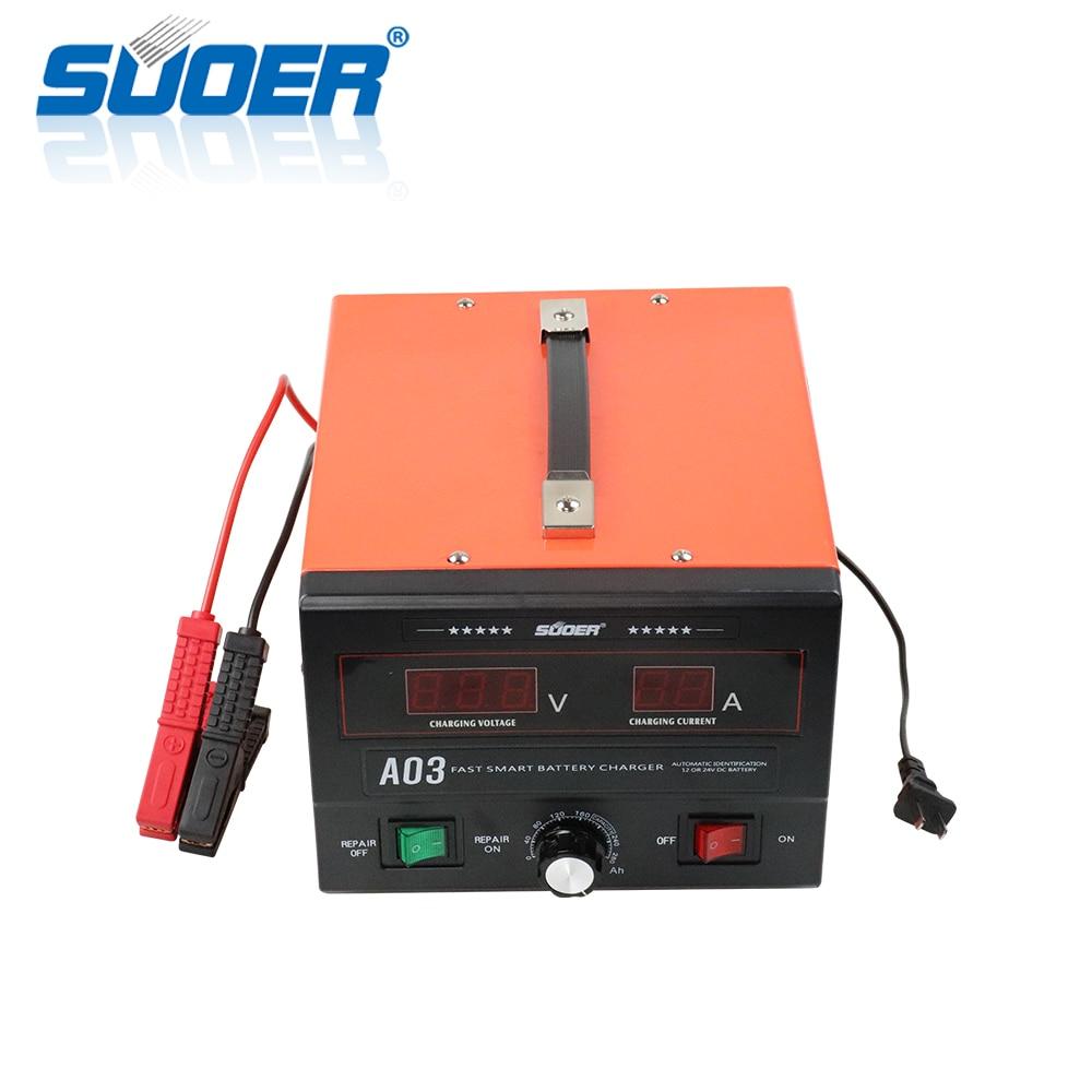 Suoer【 شاحن بطارية 】 ثلاث مراحل ذكي شاحن بطارية السيارة 30A 12 فولت 24 فولت 50 هرتز مع LED
