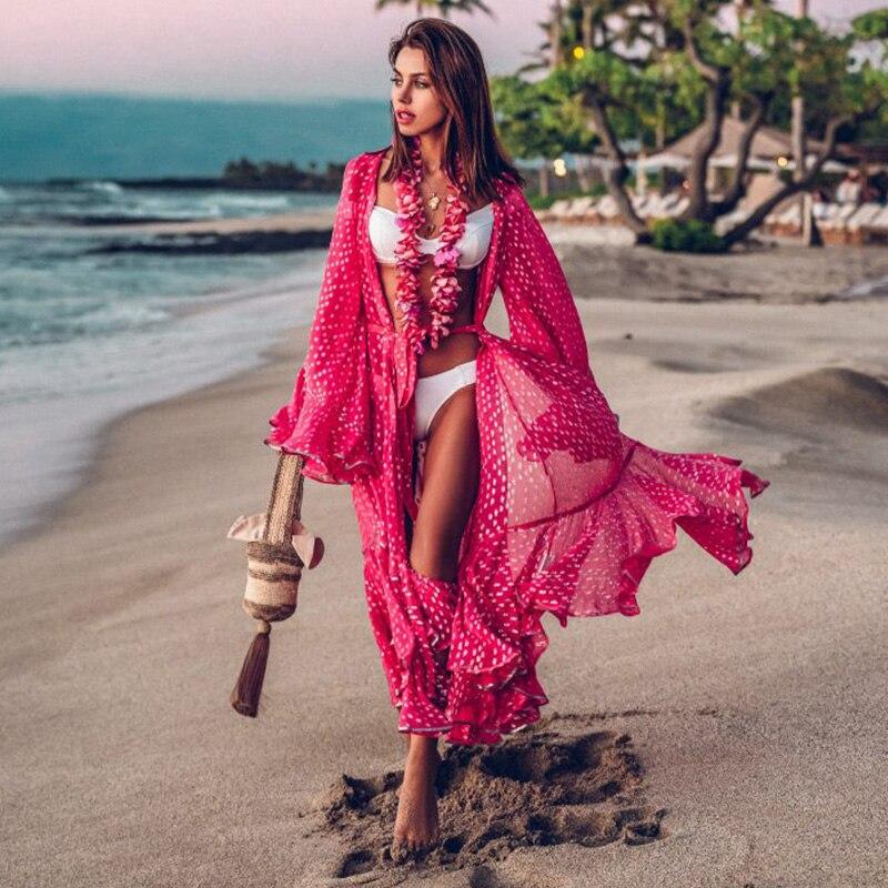 Женское пляжное платье-туника, однотонное белое парео из хлопка с высоким воротником и рукавами-крылышками, 2021