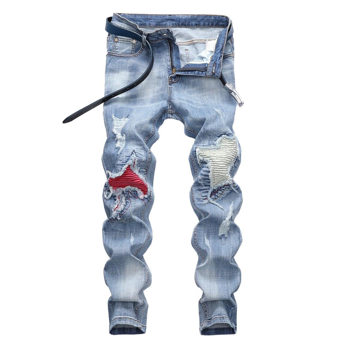 Новинка Осень-зима 2021 модные мужские джинсы Рваные мотоциклетные Брюки Модные трендовые мужские джинсы джинсовые брюки модные мужские