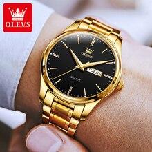 OLEVS Men's Watches Luxury Gold Stainless Man Watch Orologio Uomo Calendar Week Display Quartz Wrist
