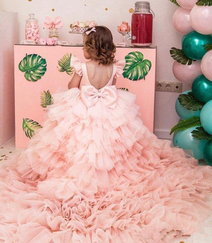 Elegant Pink Flower Girls Dresses Backless Sweep Train Pink Girls First Communion Dresses Pink Puffy Girls Birthday Party Dress