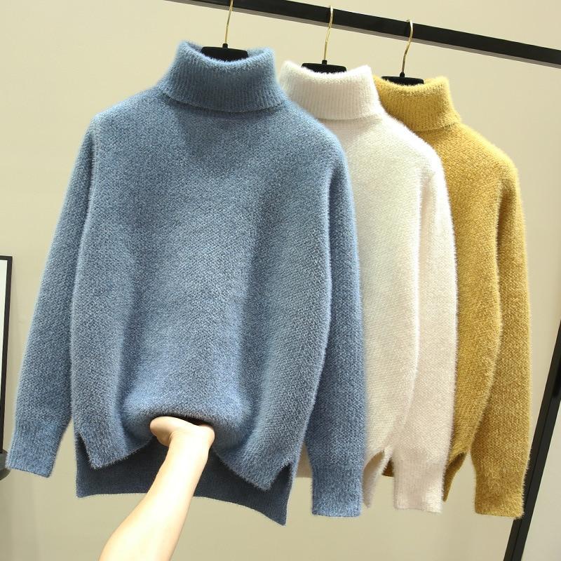 Женский свитер, вязаные свитера, Модные свободные повседневные толстые свитера, осенне-зимние однотонные теплые женские пуловеры с длинным...