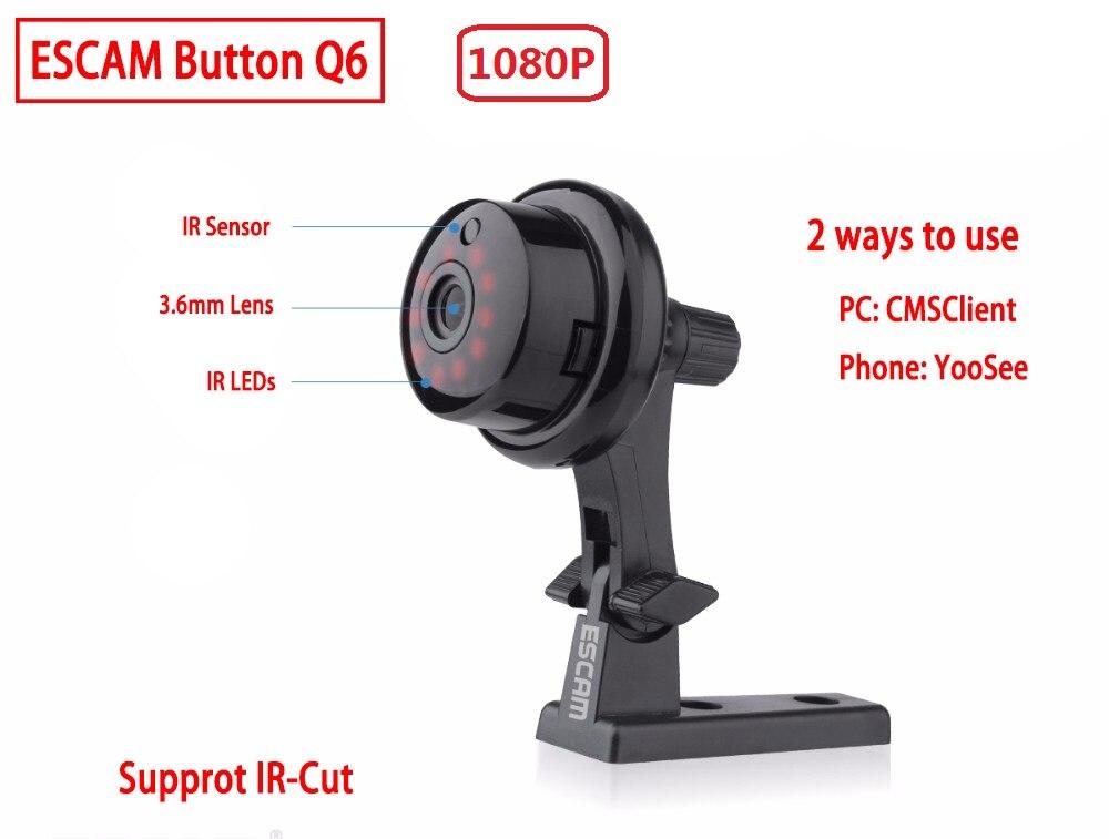 Mini cámara inalámbrica 2019 botón Q6 2MP ONVIF 2.4.2 compatible con detección de movimiento de visión móvil y alarma de correo electrónico de hasta 128G YOOSEE
