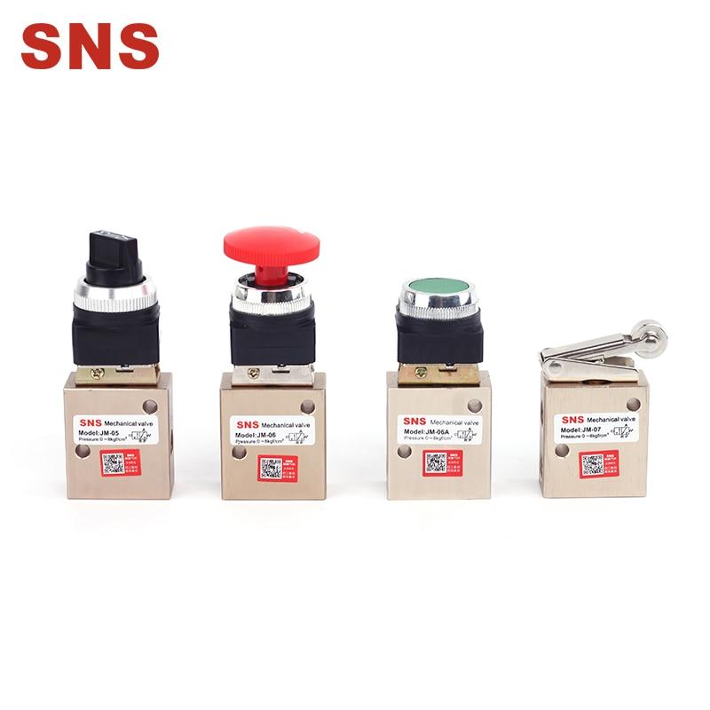 SNS Pneumatic JM Series 3/2 Port Mechanical Valve With Rotary Knob/ Self-Locking/ Spring-Return/ Flat Button/ Rolling-Wheel Type