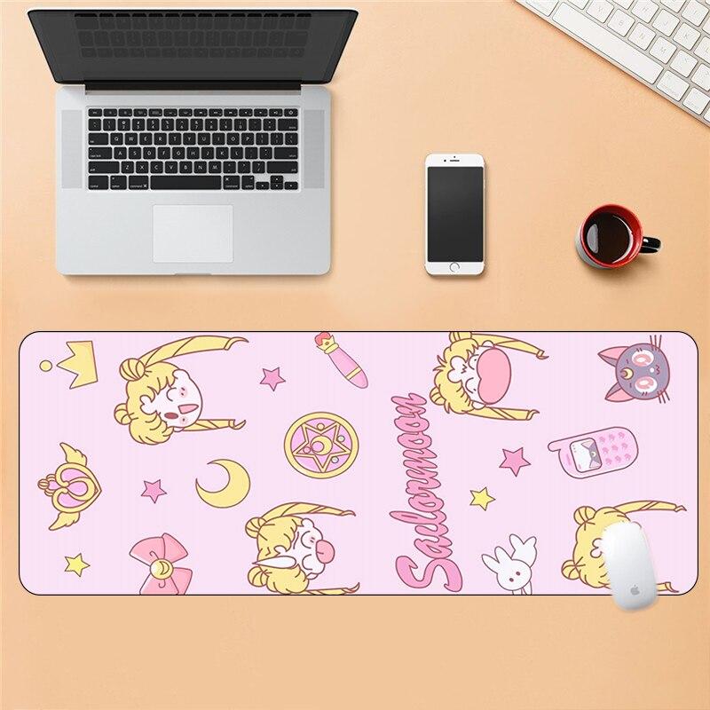 Resistente à Sujeira Almofada de Descanso de Pulso Rosa Sailor Moon Grande Almofada Kawaii Anime Mouse Mousepad Otaku Tapete xl Mesa 80x30cm