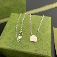 925 sterling silver square double buckle g necklace men and women couple luxury brand pendant fashion charm exquisite jewelry