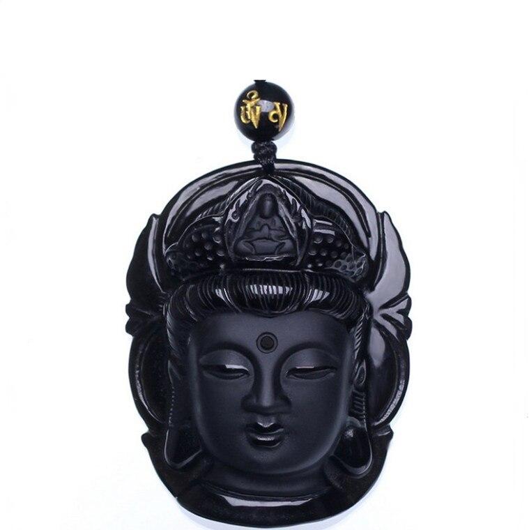 Cortina joyería obsidiana exfoliante colgante negro cabeza de Guanyin con palo transporta...