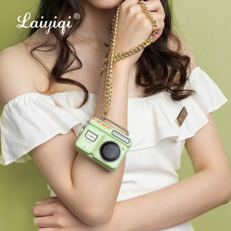 Laiyiqi nueva grabadora de diseño Retro inalámbrico altavoz portátil dorado cadena enceinte...