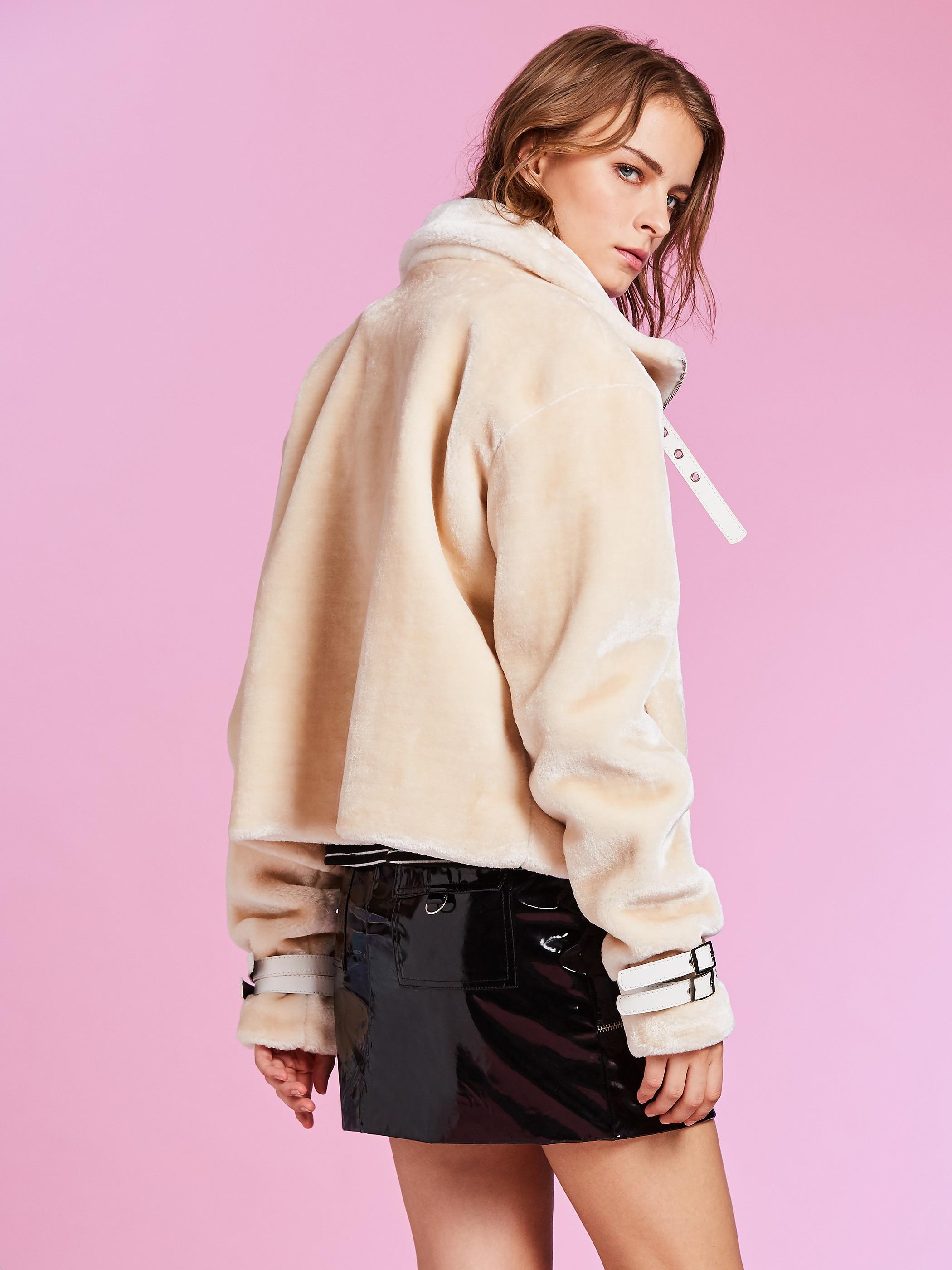 Slim Lapel Plain Zipper Women Jacket wool blend winter warm coat beige high street plain zipper flee