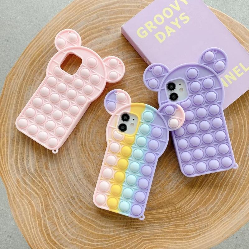 Мягкий силиконовый чехол для iPhone 7 8 Plus X XS XR 11 SE 100 12 13 Mini Pro Max Pop it Bubble фиджет-игрушки, 2020 шт.