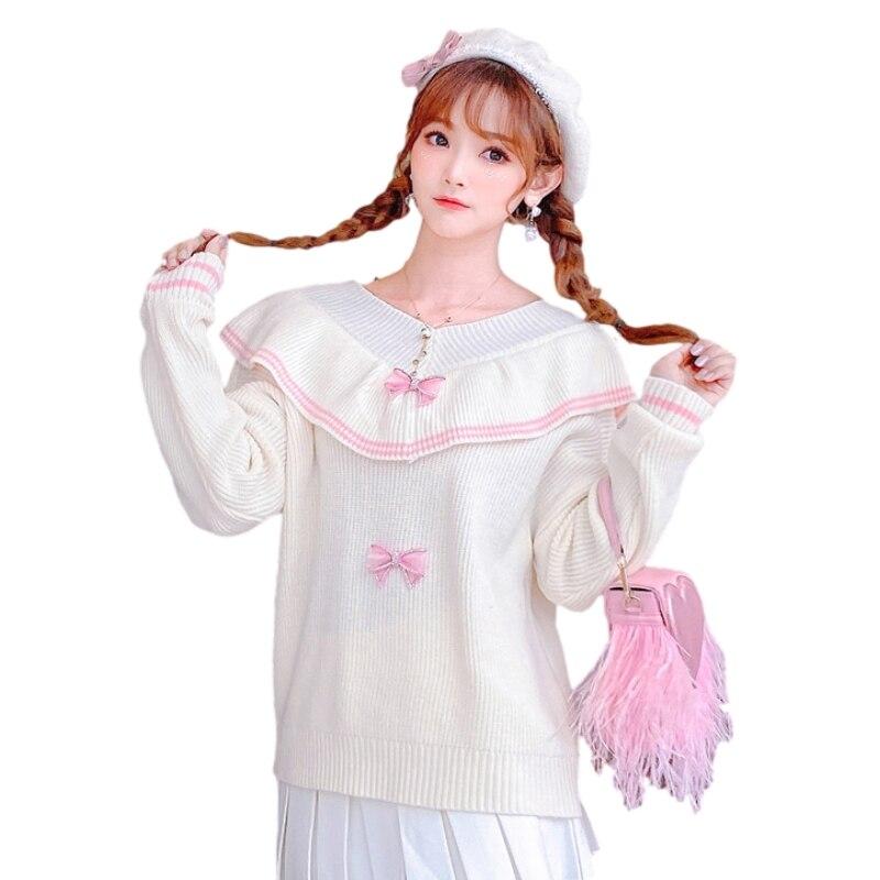 Sweet Lolita Women Knitted Sweater Vintage Ruffle Elegant Ribbed Jumper Female Korean Fashion Pullover Kawaii Long Sleeve Top