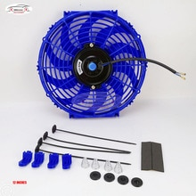 Universal 12 Inch 12V 80W 2100RPM Straight Black Blade Electric Cooling Radiator Fan Kit