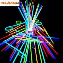 100 Pcs Party Fluorescentie Light Glow Sticks Armbanden Kettingen Neon Voor Wedding Party Glow Sticks Heldere Kleurrijke Glow Sticks