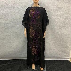 New African Long Abaya Colorful Diamond 100% cotton Chiffon Loose size Long Dashiki Dress with scarf For Lady 1023#