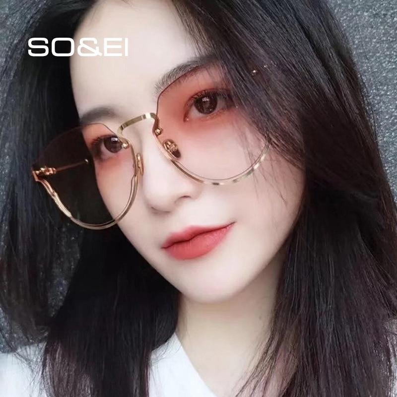 SO&EI Fashion Oversized Semi-Rimless Irregular Gradient Sunglasses Women Brand Designer Men Unique S