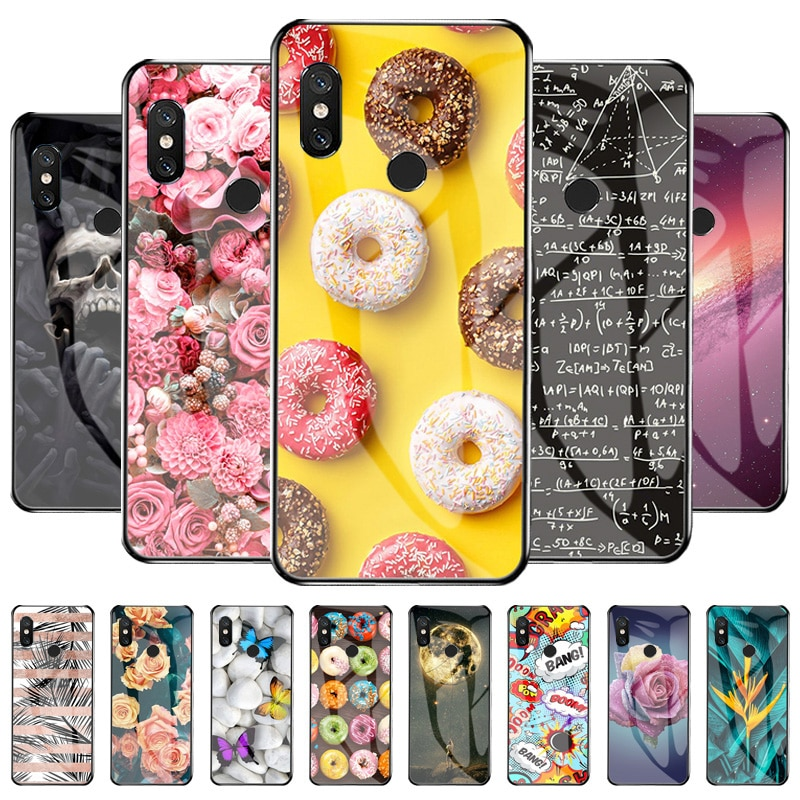 Phone Cover For Xiaomi Mi 8 Case Silicone Bottom Shell On Xiaomi  Mi8 6.21 inch Animal And Flower Pr