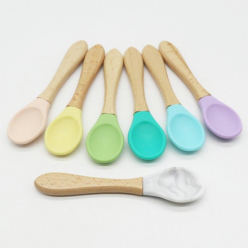 Cucharas de entrenamiento de bambú para bebé, 5 uds., cucharas de alimentación de bebé Punta de silicona suave orgánica, cuchara, cuchara, tirador de agarre fácil, regalos para niños pequeños