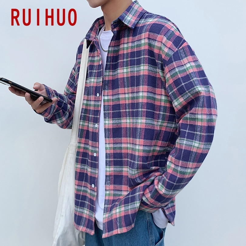 RUIHUO 2020 New Spring Casual Plaid Shirt Men Slim Fit Cotton Male Long Sleeve Shirts Men Fashion Tops Brand Plus Size M-2XL