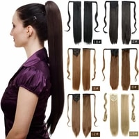 ponytail extensions wrap long straight synthetic fake pony tail false hair piece clip in on hairpiece heat resistant for women