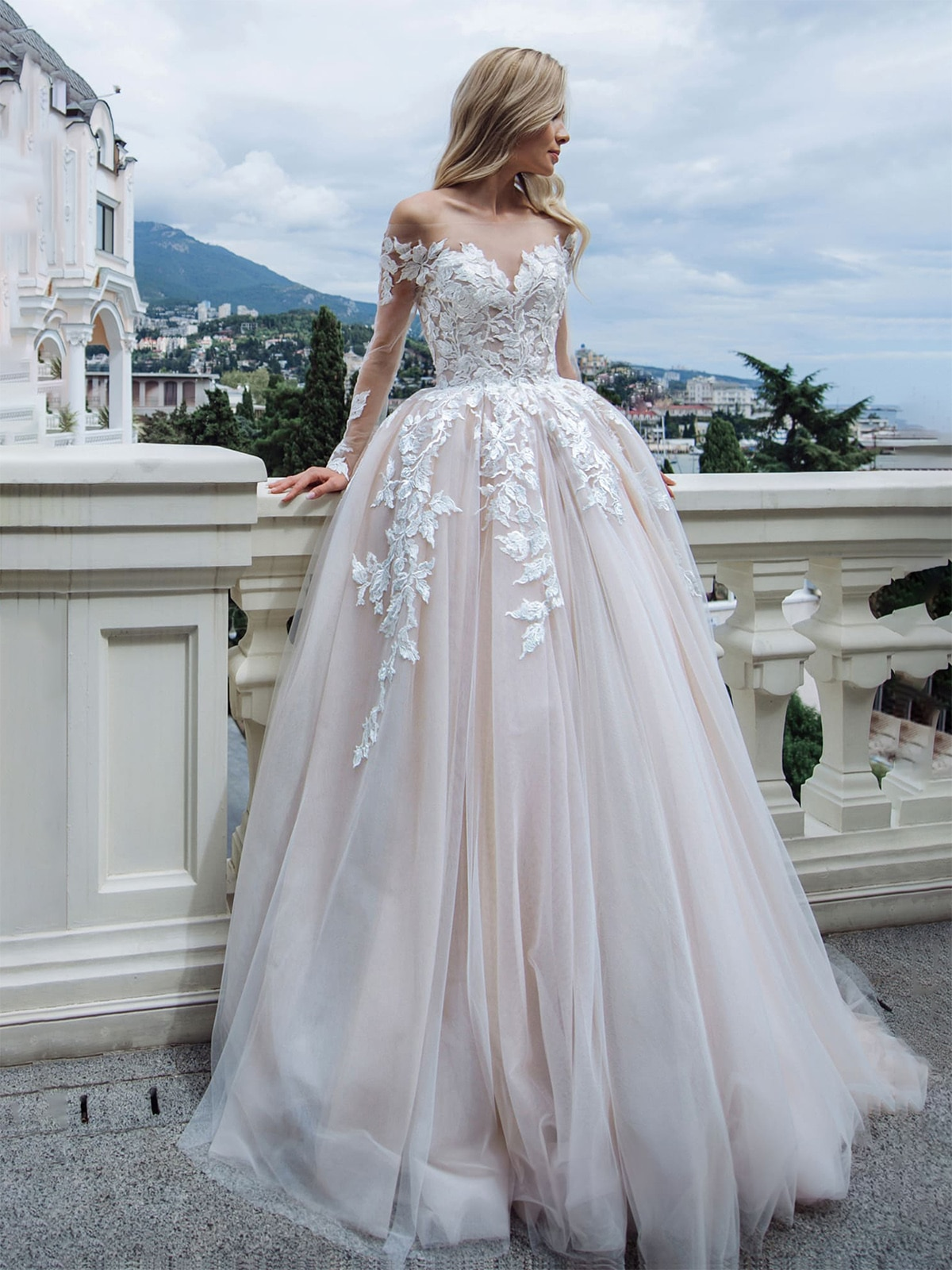 off-the-shoulder-lace-appliqued-bridal-gown-long-sleeves-v-back-photography-2021-custom-made-sheer-tulle-champagne-wedding-dress