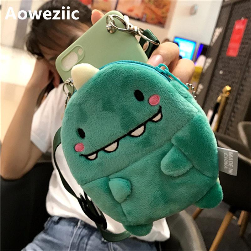 Monedero de dibujos animados para niñas Aoweziic para iPhone 11 pro max xs max xr funda de teléfono fluffy verde pequeño dinosaurio 6s 7 8plus con cordón