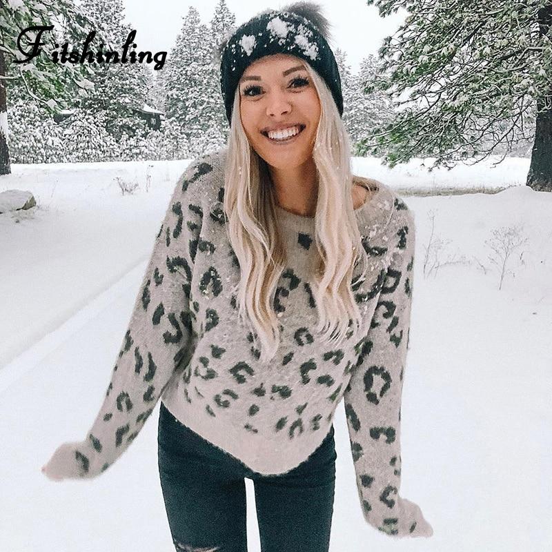 Fitshinling Fashion Leopard Winter Sweaters Holiday 2020 Slim Autumn Pullover Long Sleeve Jumper Knitwear Khaki Ladies Sweater