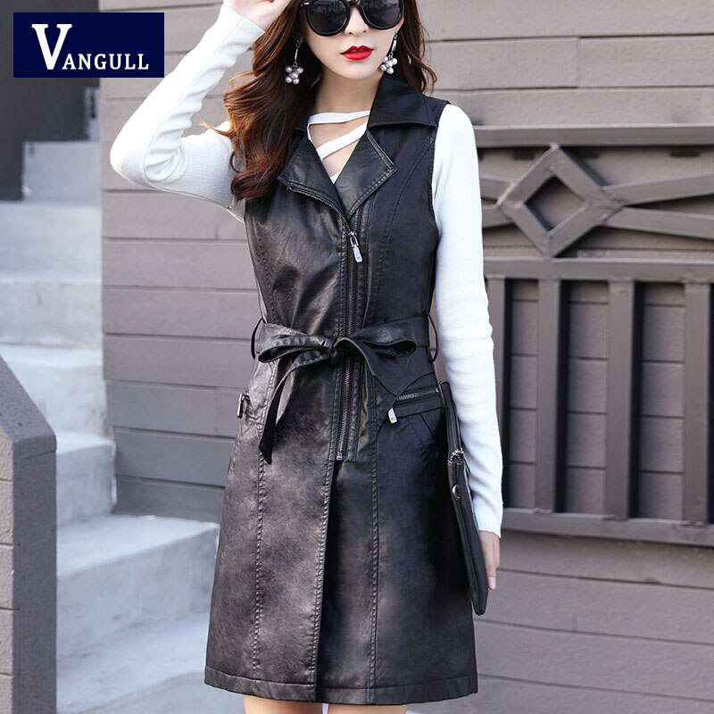 Vangull High Quality PU Leather Women's Vest Long Trench Coat New Female Sleeveless Waistcoat Faux Leather Blazer Plus Size 4XL