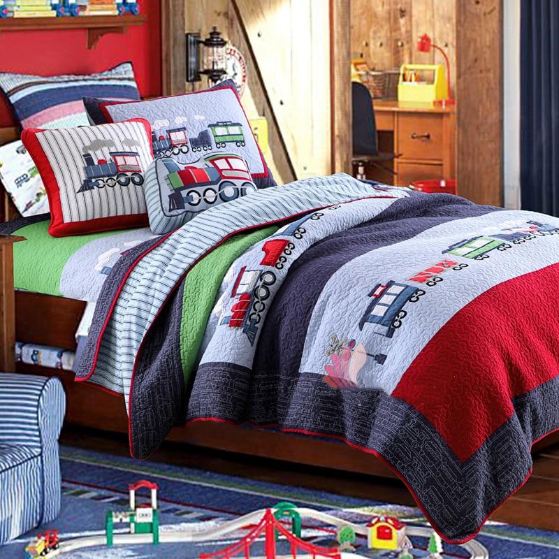 Kinder Jungen Autos gedruckt Quilt Set 2Pcs 100% Baumwolle Stepp Bettdecke Bettdecke Bett Abdeckung Childrean Bettwäsche set Kissen shams