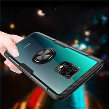 For Xiaomi Redmi Note 9S Case Luxury Car Magnetic Ring Transparent Clear Glass Stand Holder Case for