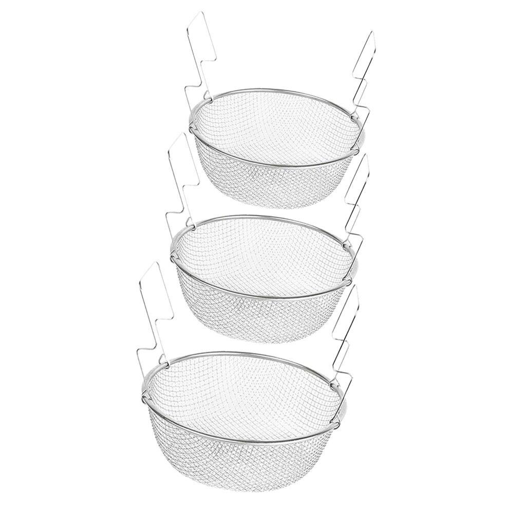 3 tamanhos de aço inoxidável redondo malha coador cesta para alimentos fritos vegetais batatas fritas farinha de chá macarrão caldo jam peixe