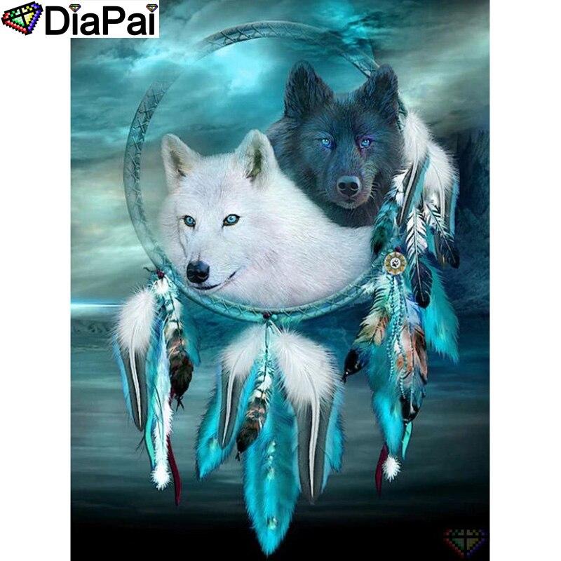 "Pintura DIAPAI con bordado de diamante ""Animal wolf"" pintura de diamante cuadrado completo imagen redonda de decoración de diamantes de imitación A26918"