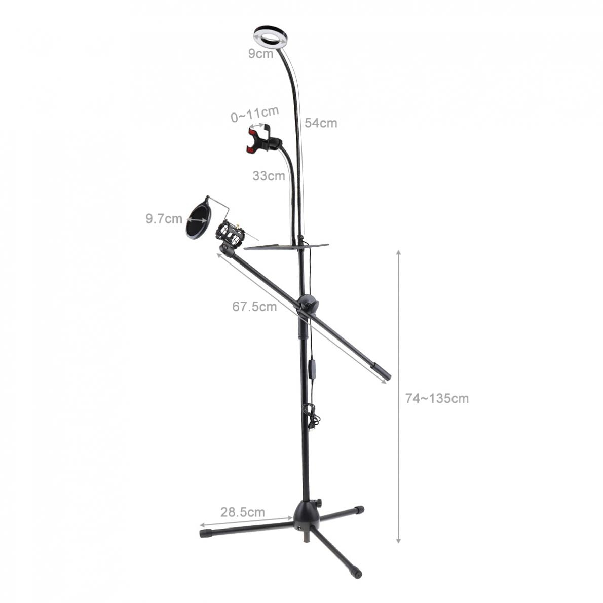 Live Broadcast Gooseneck Cell Phone Holder Bracket Tripod with Selfie Ring Light and Microphone Stands Pop Filter for Video enlarge