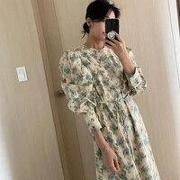 korean one piece fashion elegant vintage floral chiffon dress 2021 autumn new loose lace up dress office ladies casual dresses