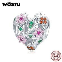 WOSTU 925 فضة الخنفساء والزهور القلب الخرز الزركون الوردي صالح سوار الأصلي قلادة مجوهرات الأزياء BNC117
