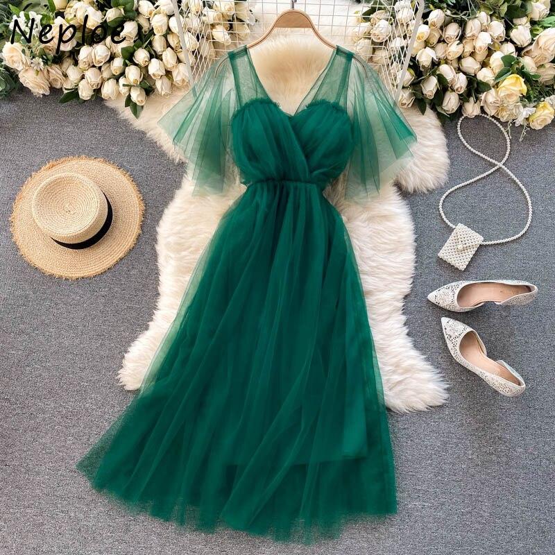 Neploe элегантное Сетчатое темперамент платье для женщин высокая талия бедра трапециевидной формы длинное платье с v-образным вырезом с коротким рукавом пикантные вечерние халат новые летние