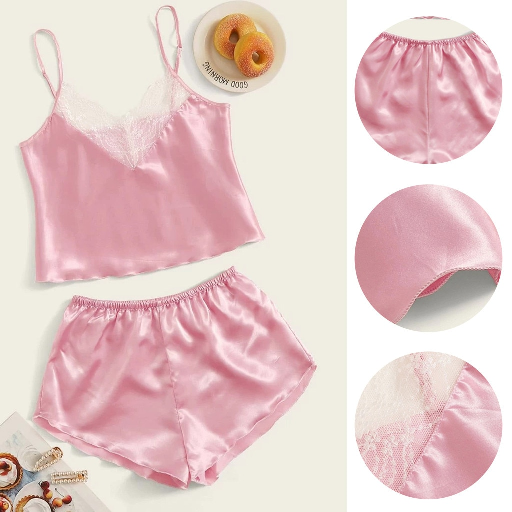 Pink Lace Hollow Out Sexy Pajamas For Women Nightwear Pyjamas Female Sleepwear Ultra Thin Sleep Loun