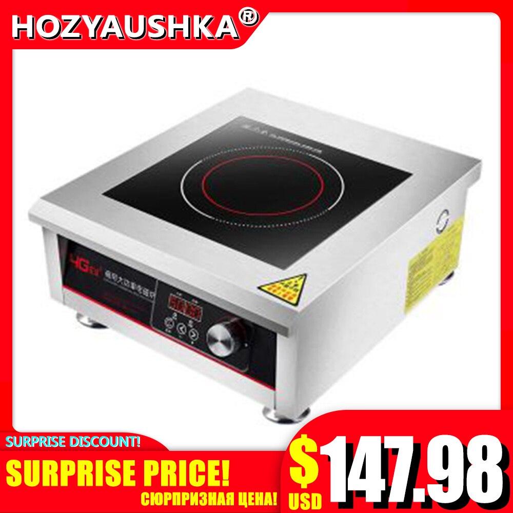 Индукционная плита 5000 Вт, промышленная плоская электромагнитная печь высокой мощности 5 кВт, взрывная печь для жарки, плоская печь для супа   Бытовая техника   АлиЭкспресс