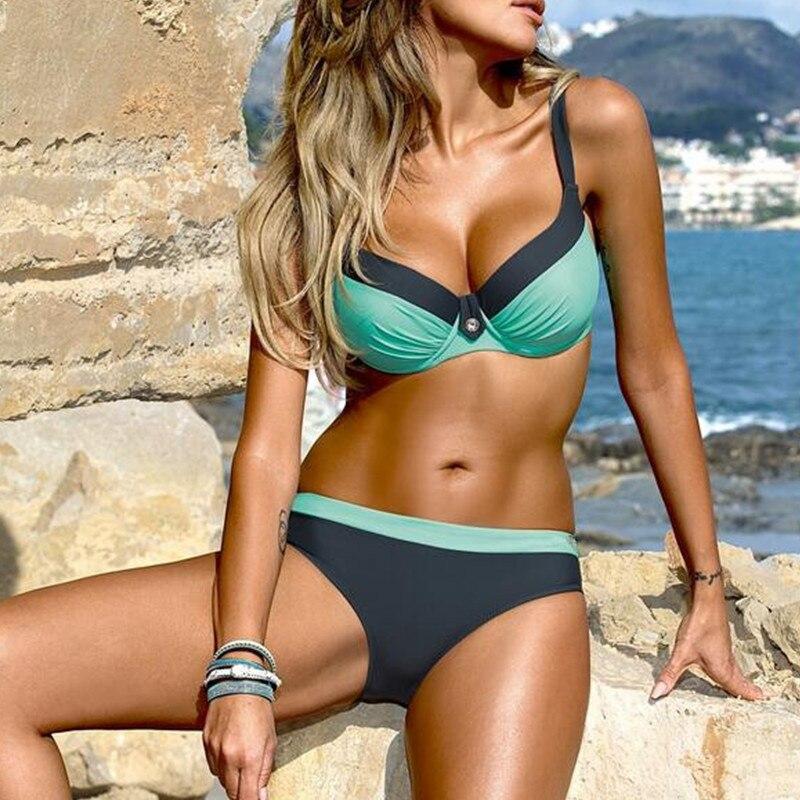 Ropa de baño para mujer, Tanquini estampado a Color, bañador de rayas duras para mujer, bañador de moda con aros recogido, Bikini dividido